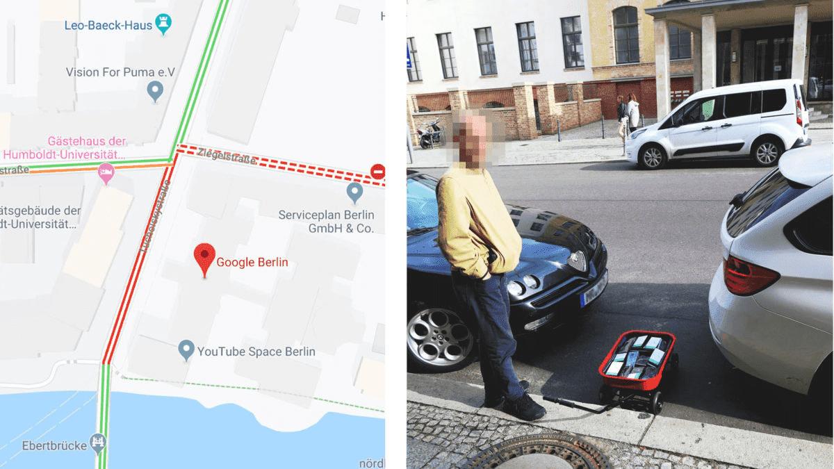 Мужчина создал мнимые пробки на картах Google медленно перемещая 99 телефонов